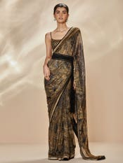 Black & Beige Niscira Embroidered Saree With Unstitched Blouse