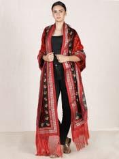 Burgundy & Red Embroidered Velvet Shawl