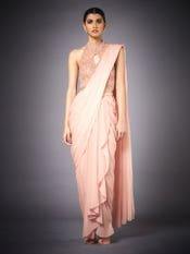 Peach Gazella Embroidered Draped Saree With Stitched Blouse