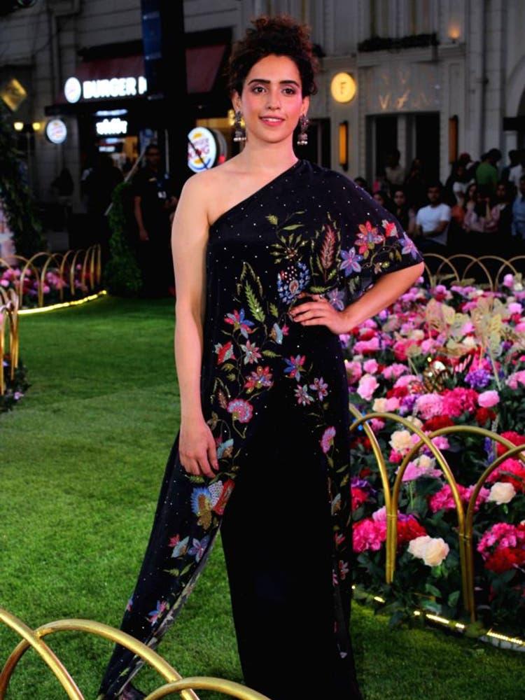 Sanya Malhotra in a Black Floral One-Shoulder Jumpsuit