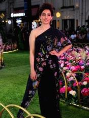 Sanya Malhotra In A Black Baroque Garden Floral One-Shoulder Jumpsuit