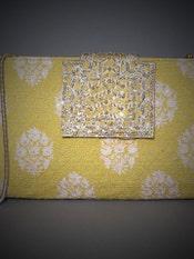 Mustard Embroidered Evening Clutch