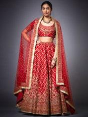 Red Sana Embroidered Lehenga Set
