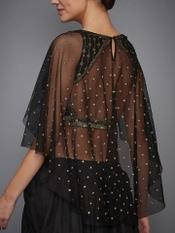 Black Mia Embroidered Cape Blouse