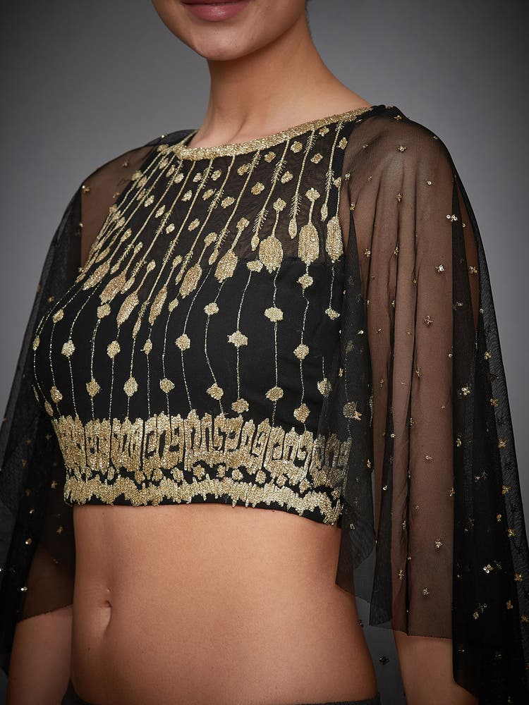 Black Embroidered Cape Blouse