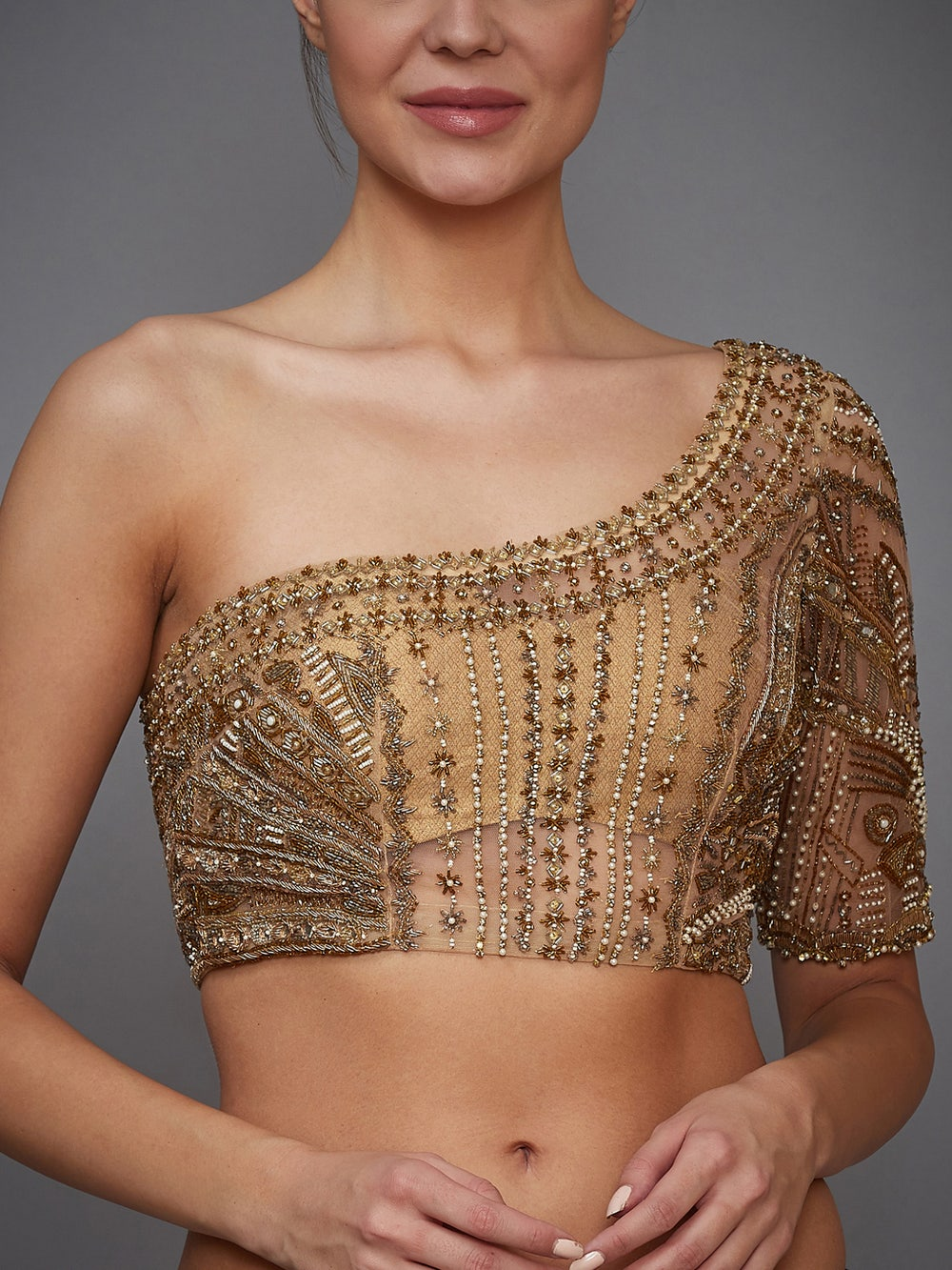 Golden Sonar Embroidered One-Shoulder Blouse