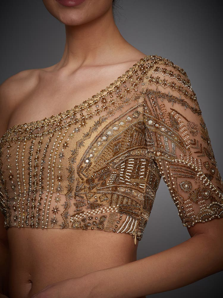 Golden Embroidered One-Shoulder Blouse