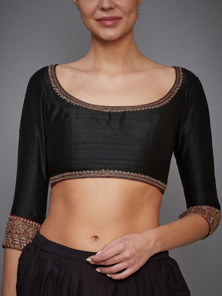 Black Embroidered Silk Blouse