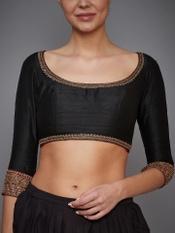 Black Parampara Zardozi Embroidered Silk Blouse