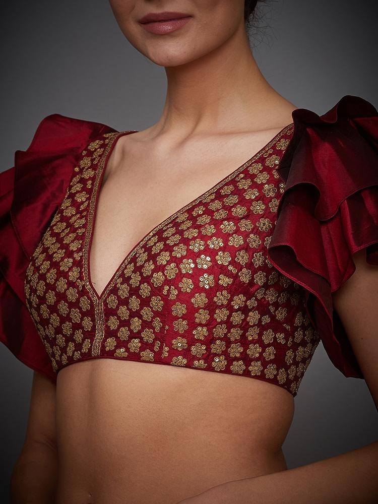 Burgundy Brocade Jamawar Silk Embellished Blouse