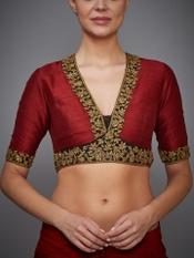 Burgundy Agora Jasmine Silk Embroidered Blouse