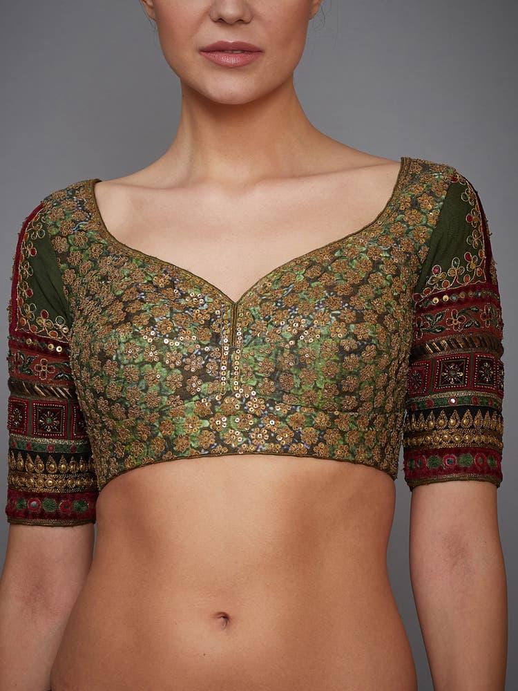 Khakhi Green Silk Blouse
