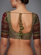Khakhi Green Vrindavan Silk Blouse
