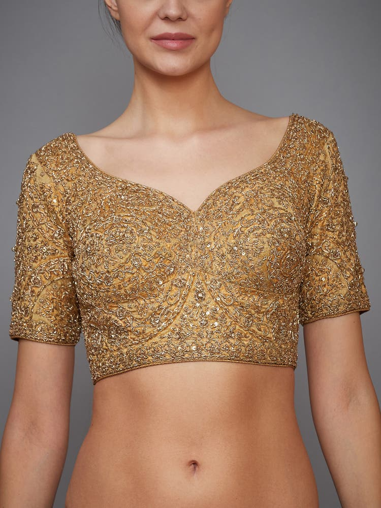 Golden Embroidered Silk Blouse