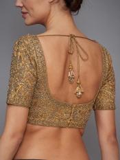 Golden Brocade Jamawar Embroidered Silk Blouse