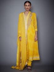 Yellow Embroidered Kurta With Dupatta And Churidar