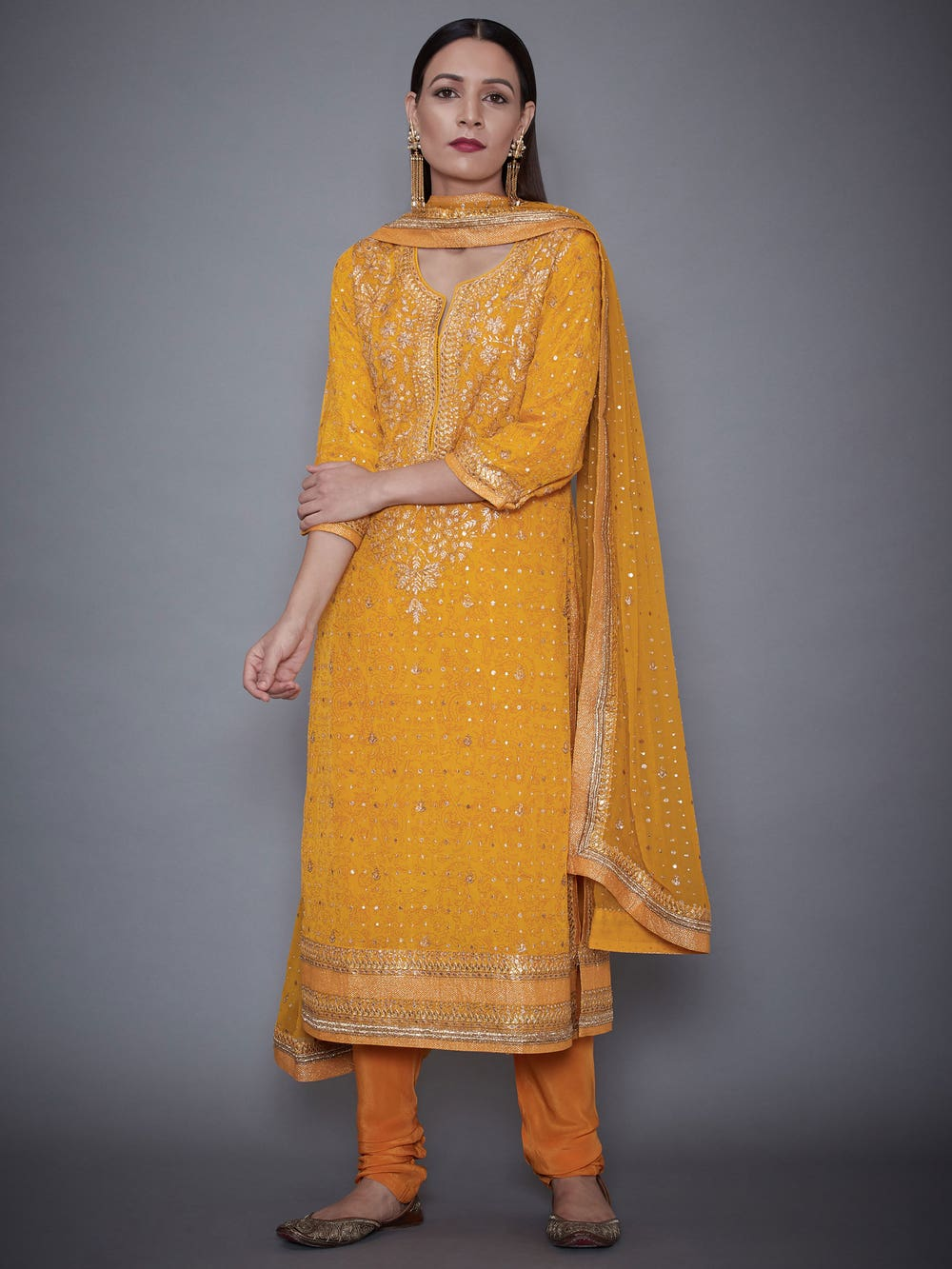 Yellow Munar Embroidered Suit Set