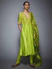 Lime Green Floral Embroidered Anarkali Suit