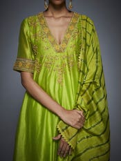 Lime Green Floral Embroidered Anarkali Suit