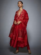 Athiya Shetty in a Red Embroidered Suit Set