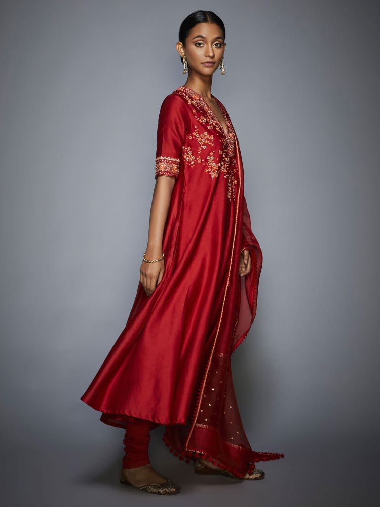 Athiya Shetty In A Red Utsav Embroidered Suit Set