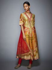 Coral and Khaki Floral Printed Anarkali Suit