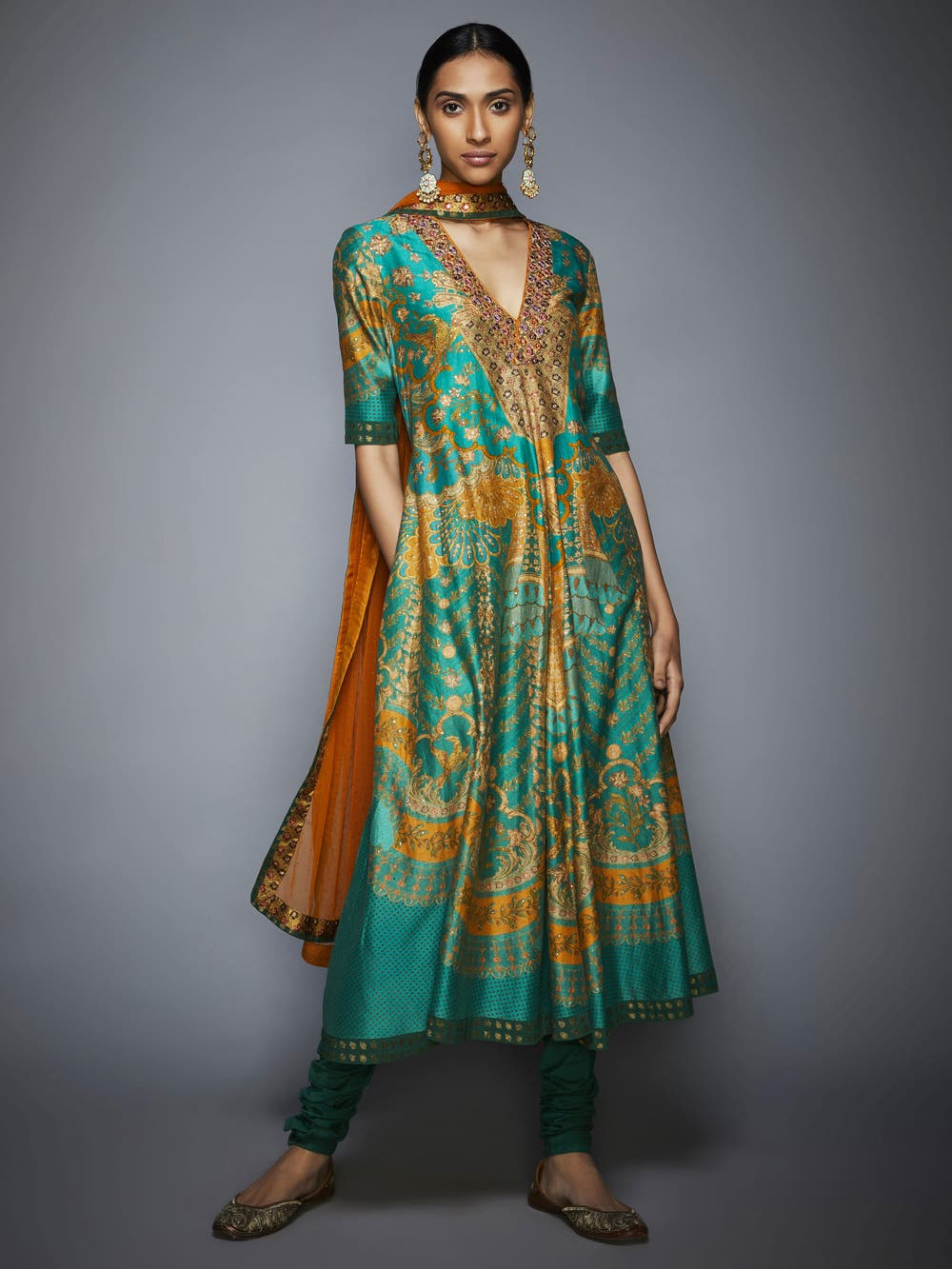 Green and Mustard Floral Printed Anarkali Suit