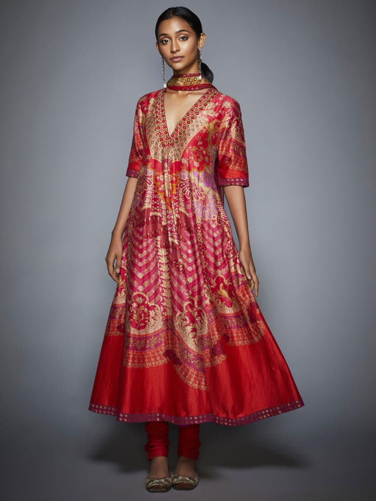 Red and Fuschia Floral Printed Anarkali Suit