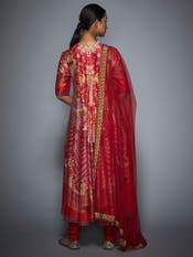 Red and Fuchsia Floral Printed Anarkali Suit