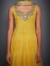 Yellow Shekhawati Embroidered Crepe Suit Set