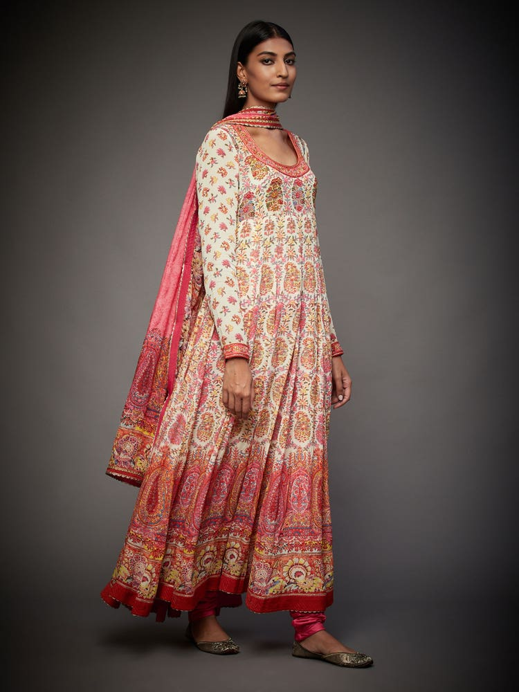 Ecru & Punch Pink Emily Embroidered Suit Set