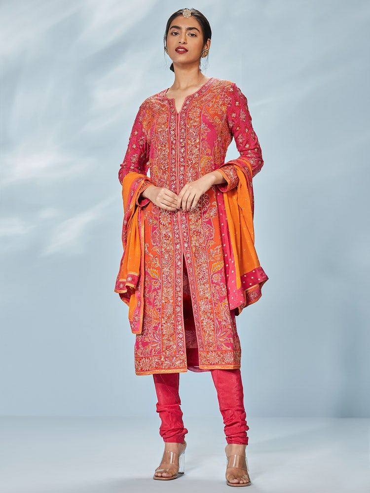 Orange & Fuchsia Pakheru Ari Embroidered Suit