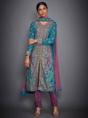 Turquoise & Mauve Pakheru Ari Embroidered Suit Set