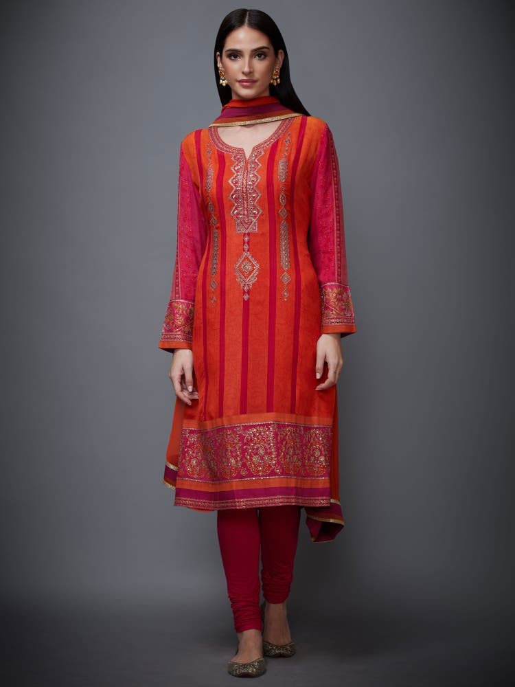 Fuchsia & Orange Embroidered Suit Set