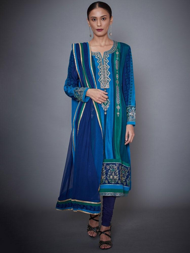 Turquoise & Royal Blue Chamba Ari Embroidered Silk Chinon Suit Set