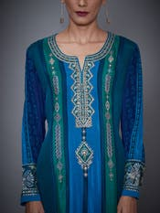 Turquoise & Royal Blue Embroidered Silk Chinon Suit Set