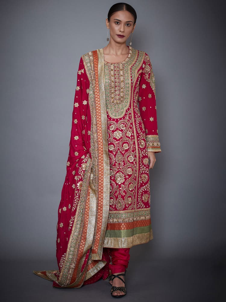 Fuchsia Embroidered Kurta With Dupatta And Churidar