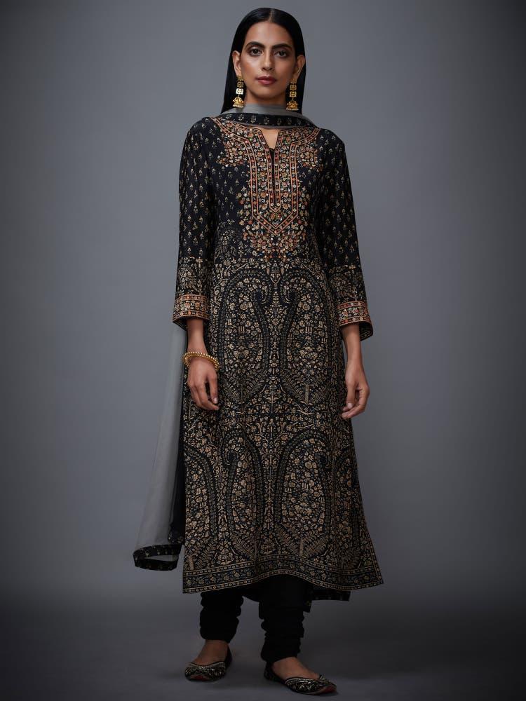 Black & Beige Embroidered Suit Set