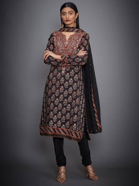 Black & Rust Cheepa Embroidered Suit Set