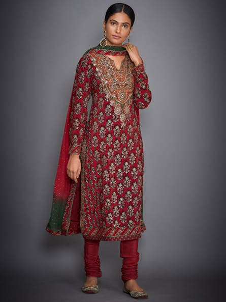 Red & Emerald Cheepa Embroidered Suit Set