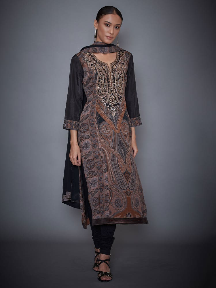 Grey & Black Harvana Embroidered Suit Set