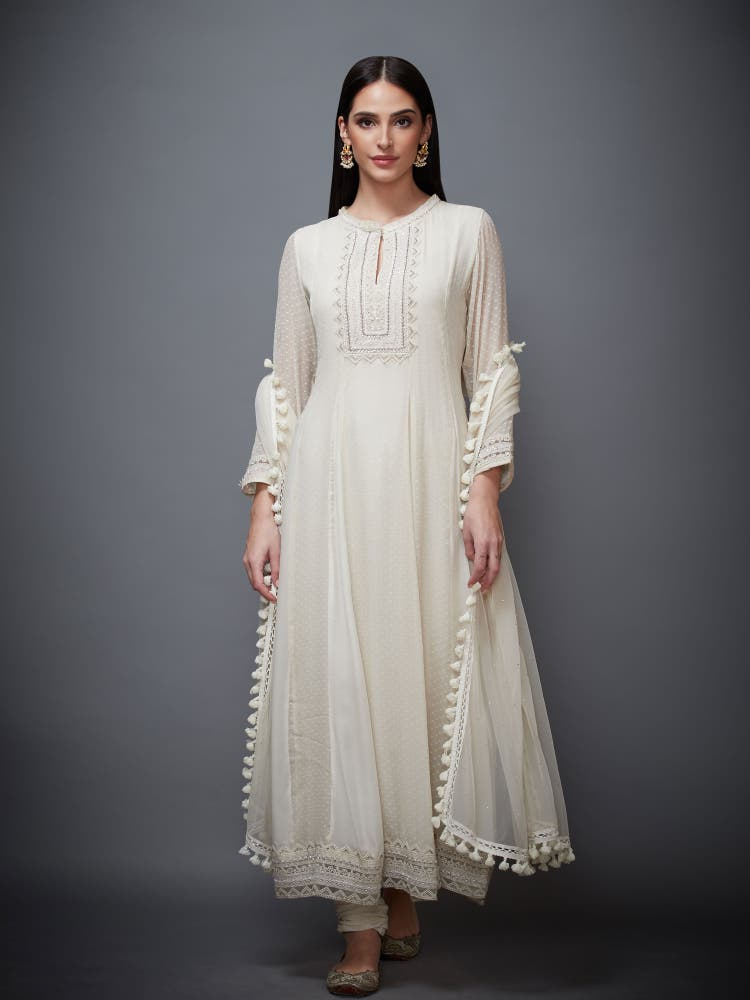 Ivory Grace Embroidered Anarkali Suit Set