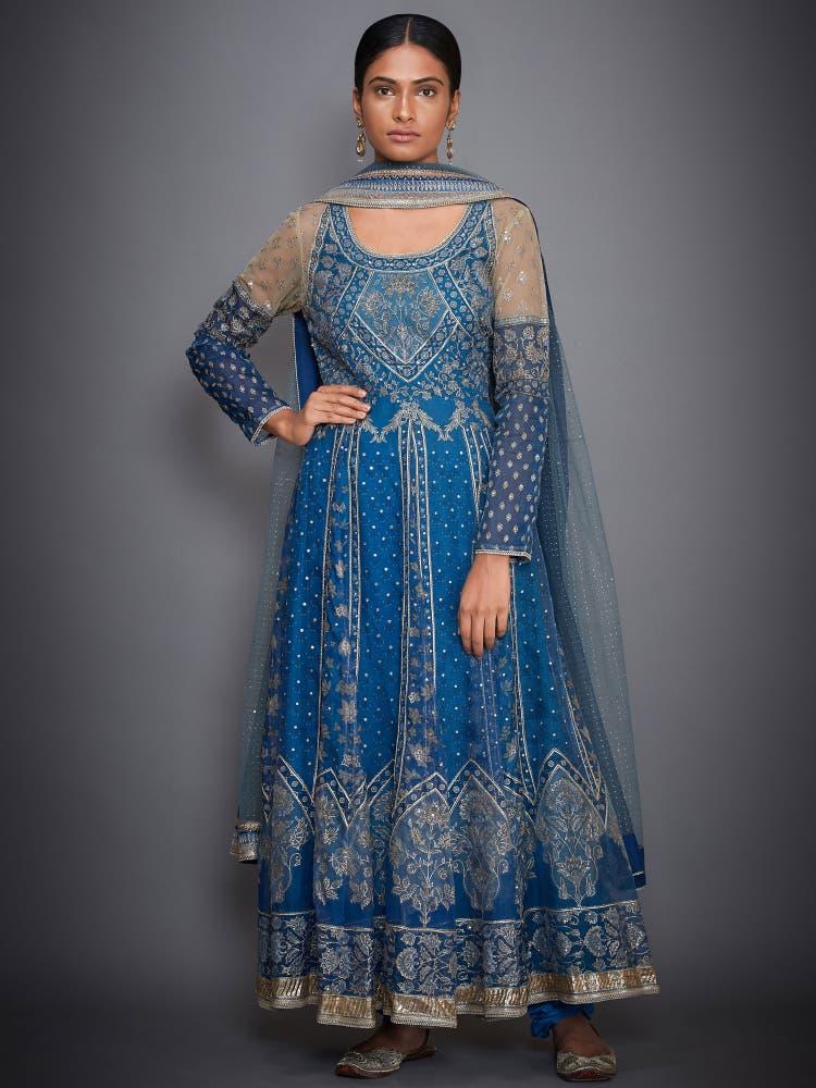Sky Blue Embroidered Anarkali Suit