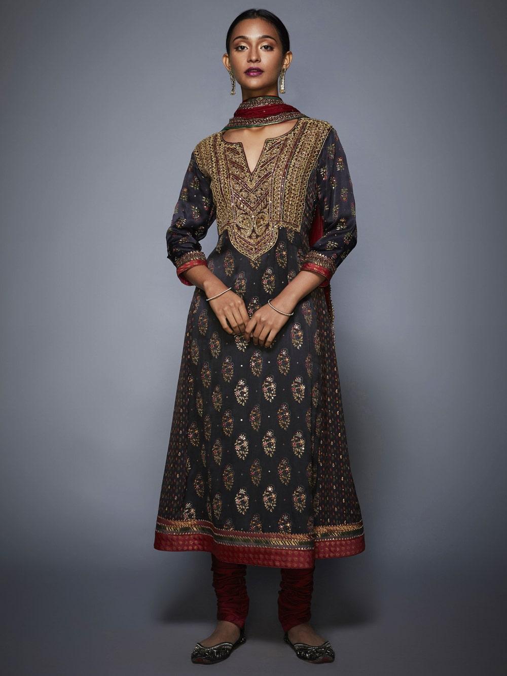 Black & Burgundy Ketki Embroidered Suit Set