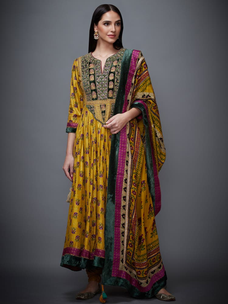 Yellow Silk Embroidered Anarkali Suit Set