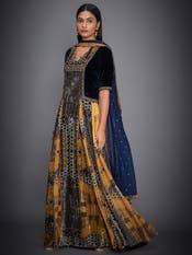Blue & Ochre Embroidered Velvet Suit Set