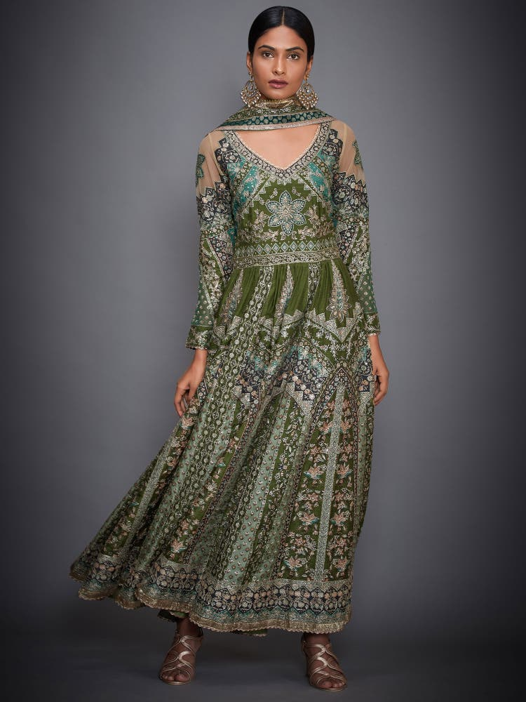 Khaki & Green Embroidered Anarkali Suit Set