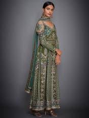 Khaki & Green Embroidered Anarkali Suit Set