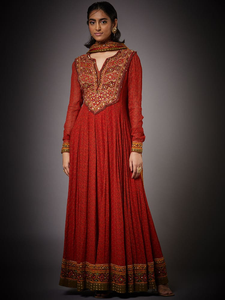 Rust Megha Embroidered Suit Set