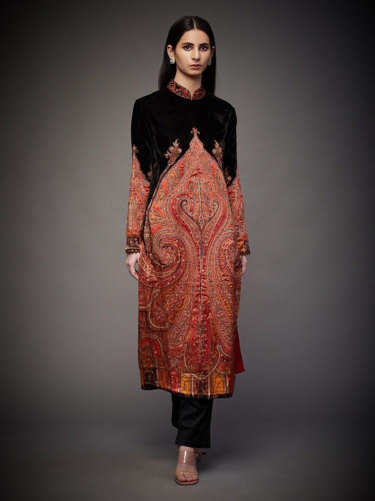 Black & Ruby Red Pankh Jamawar Embroidered Coat
